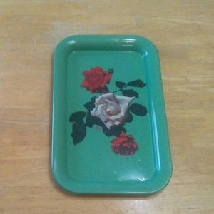 Vintage metal rose tray